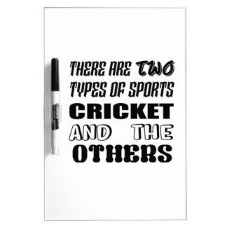 Pizarra Blanca Hay dos tipos de deportes cricket y otros