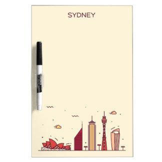 Pizarra Blanca Horizonte del Doodle de Sydney, Australia el |