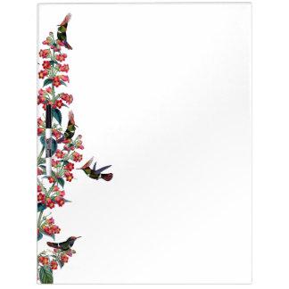 Pizarra Blanca Las flores rojas de los pájaros del colibrí secan