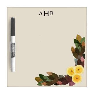 Pizarra Blanca Letras iniciales amarillas de las flores y de las