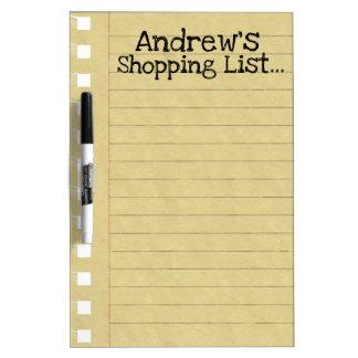 Pizarra Blanca Lista de compras personal