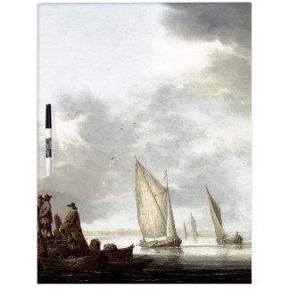 Pizarra Blanca Los barcos de los veleros del velero del océano
