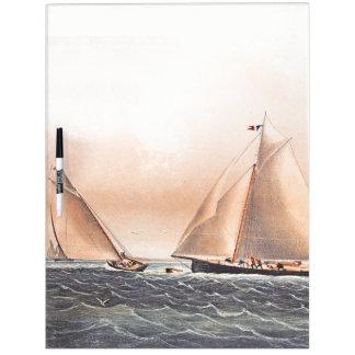 Pizarra Blanca Los barcos de los yates de la raza 1854 del velero