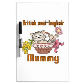 Pizarra Blanca Mamá semi-de pelo largo británica del gato