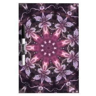 Pizarra Blanca Mandala floral negra bonita de Borgoña