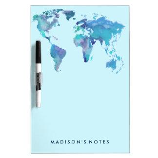Pizarra Blanca Mapa del mundo del azul de la acuarela