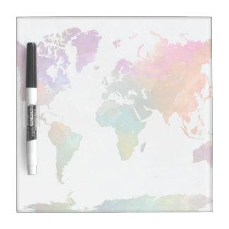 Pizarra Blanca Mapa del mundo en acuarela