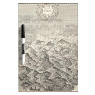 Pizarra Blanca Mapa del vintage de colinas y de montañas en Reino