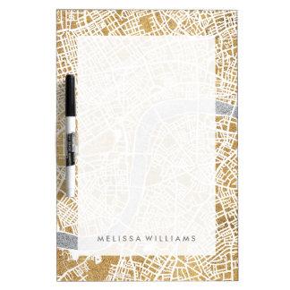 Pizarra Blanca Mapa dorado de la ciudad de Londres