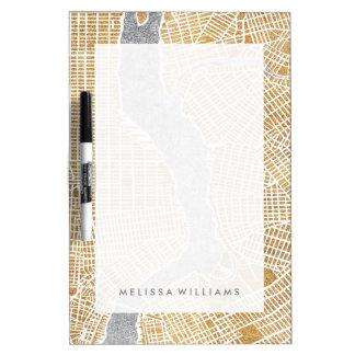 Pizarra Blanca Mapa dorado de la ciudad de Nueva York