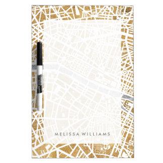 Pizarra Blanca Mapa dorado de la ciudad de París