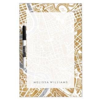 Pizarra Blanca Mapa dorado de la ciudad de Roma