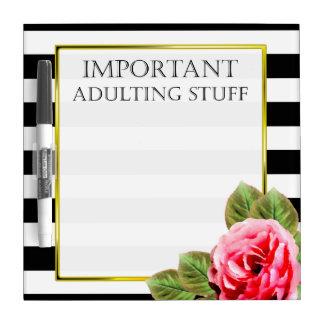 Pizarra Blanca Materia importante divertida de Adulting para las
