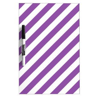 Pizarra Blanca Modelo diagonal púrpura y blanco de las rayas