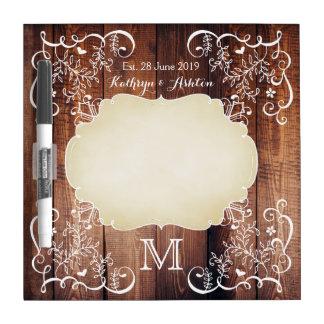 Pizarra Blanca Monograma de madera del panel del arbolado de la