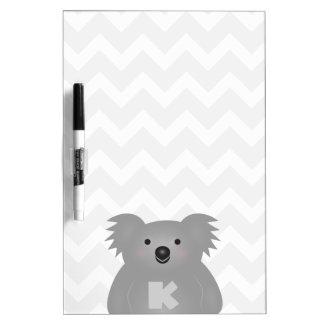 Pizarra Blanca Monograma lindo del oso de koala del bebé de