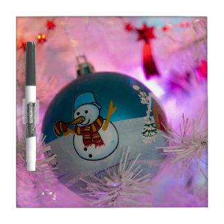 Pizarra Blanca Muñeco de nieve - bolas del navidad - Felices