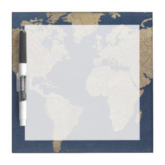 Pizarra Blanca Oro y mapa del mundo azul