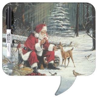 Pizarra Blanca Pintura de Papá Noel - arte del navidad