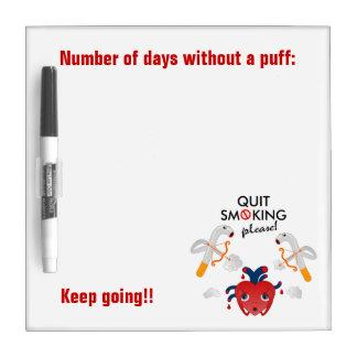 Pizarra Blanca Quit que fuma por favor