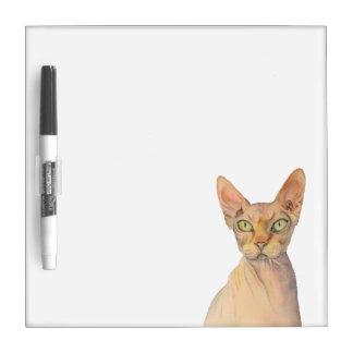 Pizarra Blanca Retrato de la acuarela del gato de Sphynx