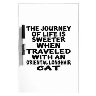 Pizarra Blanca Viajado con el gato de pelo largo oriental
