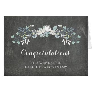 Pizarra de la enhorabuena de la hija y del yerno tarjeta de felicitación