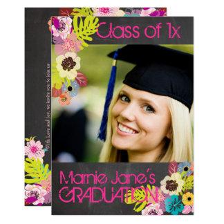 Pizarra de PixDezines+graduación floral Invitación 12,7 X 17,8 Cm