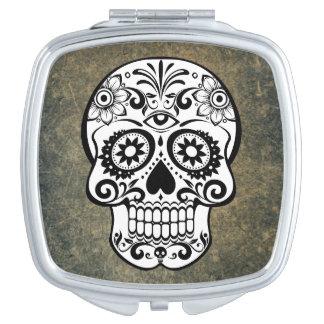 Pizarra del cráneo del azúcar negro y blanco espejos compactos