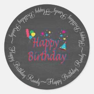 Pizarra del feliz cumpleaños pegatina redonda