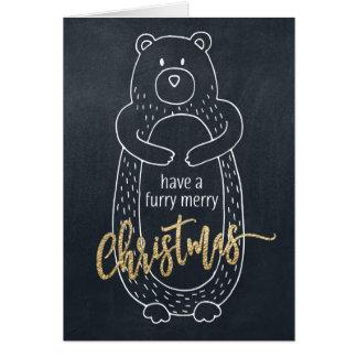 Pizarra divertida del oso de la tarjeta de Navidad