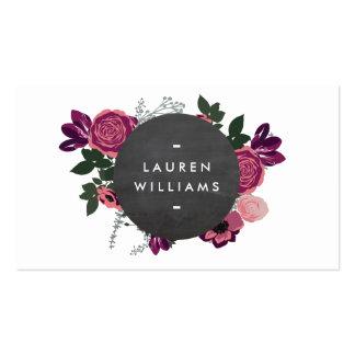 Pizarra floral moderna del adorno del vintage tarjetas de visita