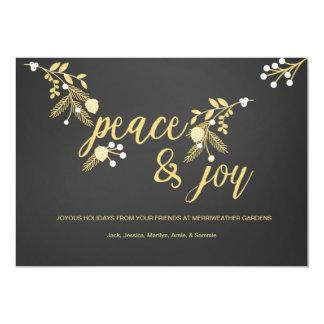 Pizarra ramas y de la paz y de la alegría de oro invitación 12,7 x 17,8 cm