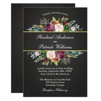 Pizarra rústica y boda floral invitación 12,7 x 17,8 cm
