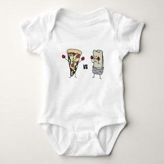 Pizza de salchichones CONTRA el Burrito: Mexicano Body Para Bebé
