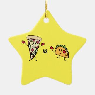 Pizza de salchichones CONTRA el Taco: Mexicano Adorno De Cerámica