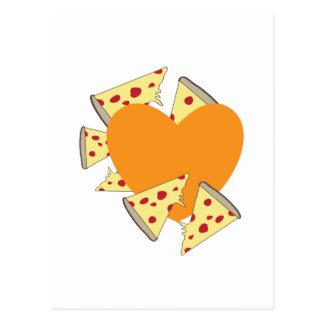 Pizza del corazón tarjetas postales