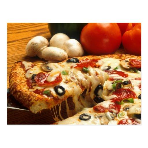 Pizza deliciosa tarjeta postal