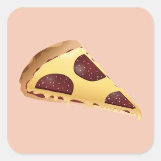 Pizza para la gente pegatina cuadrada