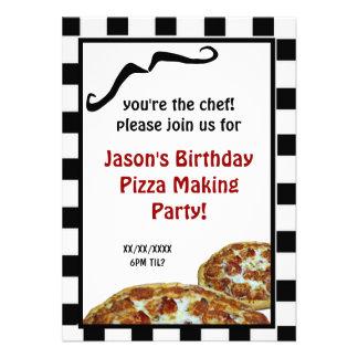 Pizza que hace la invitación de la fiesta de cumpl
