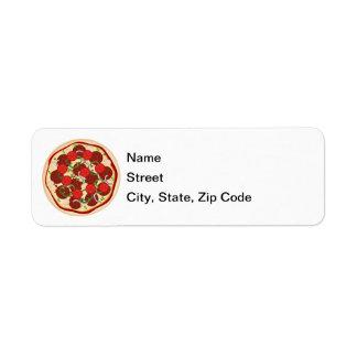 Pizza suprema etiqueta de remitente