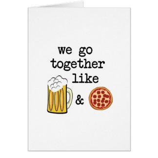 Pizza y cerveza tarjeta de felicitación