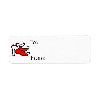 PJ footy rojos y blancos Etiquetas De Remite