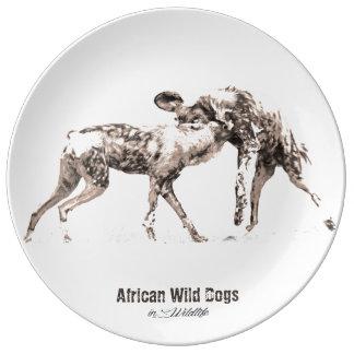 Placa africana de la porcelana de los perros plato de porcelana