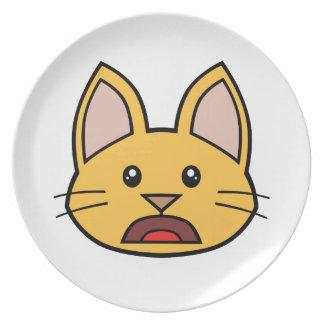 Placa anaranjada 01 de la melamina del gato FACE00 Plato De Cena