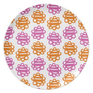 Placa anaranjada de la melamina del rosa del model platos