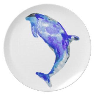 Placa azul de la melamina del delfín plato