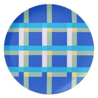 Placa azul de la tela escocesa platos de comidas