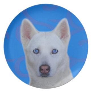 Placa blanca de la melamina del husky siberiano platos para fiestas