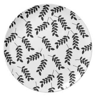 Placa bonita de la melamina del diseño de la hoja plato